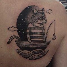 Dotwork Linework Cat Tattoo