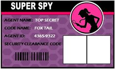 Spy Party Supplies ~ Personalized Secret Agent Birthday Supplies  ID BADGES