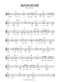 "Sheet music to ""Moon River"" Piano Sheet Music Classical, Alto Sax Sheet Music, Jazz Sheet Music, Saxophone Music, Easy Piano Sheet Music, Guitar Sheet Music, Free Sheet Music, Piano Music, Guitar Chords For Songs"
