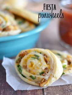 "With just five ingredients, these Fiesta Pinwheels are the perfect game day appetizer! This would be a great choice for a ""Make & Take"" to a party buffet.  Too fattening for me to keep around the house for just me and hubby, but I know our friends would love this!!! Well, so would we, but limited to one as a huge treat! Yum!!"