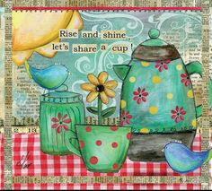 ~ When we give cheerfully and accept gratefully, everyone is blessed. ~ / Maya Angelou / Art by Lisa Kaus. ❤