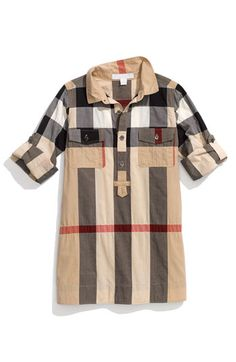 $195.00 Burberry Check Print Shirtdress (Little Girls) available at #Nordstrom