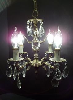 Vintage Four Light Brass Crystal Petite Chandelier by donDiLights