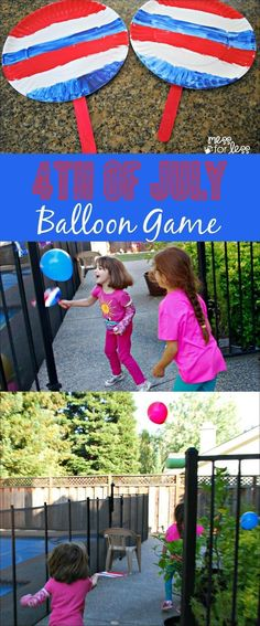 Patriotic Games for Kids - find out how to make this DIY balloon game that the kids can enjoy on the of July. This is a fun of July craft and of July activity. Patriotic Games for Kids Summer Crafts, Holiday Crafts, Holiday Fun, Kids Crafts, Farm Crafts, Daycare Crafts, Holiday Parties, 4th July Crafts, Patriotic Crafts