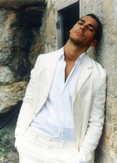 White shirt, cream suit