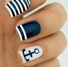 Here we have collected all these beach nail art ideas. It's better to take idea from the ideas here and then concentrate on making your own nail art idea that will be completely unique from the others. Beach Nail Art, Beach Nail Designs, Toe Nail Designs, Art Designs, Beach Themed Nails, Do It Yourself Nails, Nail Design Spring, Nautical Nails, Nautical Stripes