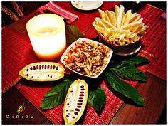 Beiju e Coco Torrado da Dora. Estas entradas deliciosas foram desenvolvidas e fazem sucesso desde 1990.  Um sabor marcante e único, exclusividade do Restaurante O Cacau.