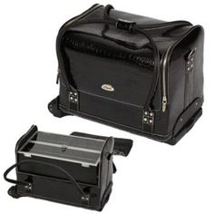 15.5 inch Black Faux Crocodile 4 Extendable Tray Doctor Style Professional Rolling Makeup Travel Train Carry Case Cosmetics Storage Organizer w/Shoulder Strap