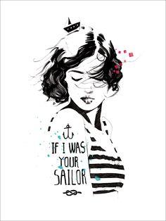 If I Was Your Sailor - art illustration nautical girl print by Manuel Rebollo Tatoo Neck, Wall Art Prints, Fine Art Prints, Portrait Illustration, Sailor Illustration, Fantasy Illustration, Pics Art, Fashion Art, Art Drawings