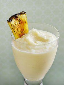 Midori Frosted Fruit  1oz MIDORI 1oz)orange flavored vodka 1oz pineapple juice 1/2oz lemon juice  orange slice for garnish  #recipe #recipes