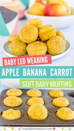 Baby Led Weaning Muffins No Sugar Healthy For Kids Soft Baby Muffin Apple Banana and Carrot These Baby Led Weaning Muffins have no added sugar perfect for babies, toddlers, and kids. A Soft spongy style Baby Muffin with Apple Banana and Carrot. Baby First Foods, Baby Finger Foods, Baby Led Weaning First Foods, Baby Led Weaning Recipes 6 Months, Baby Led Weaning Lunch Ideas, Weaning Foods, Fingerfood Baby, Healthy Baby Food, Carrot Baby Food