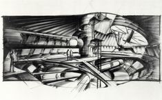 "Ken Adam concept design for the James Bond film ""Moonraker"" (1979)."