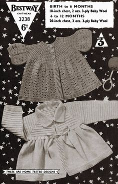 Bestway 3238 vintage baby matinee coats knitting pattern 3 ply wool birth to twelve months sizes Baby Knitting Patterns, Crochet Patterns, Baby Coat, Quick Knits, Vintage Knitting, Crochet Yarn, Lace Shorts, Knitwear, Vintage Fashion