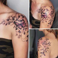 cattatto coupletatto shouldertatto snaketatto tatto Everything for Tattoo tattoo feminin Tattoos For Women Flowers, Arm Tattoos For Women, Tattoo Women, Tattoos For Guys, Sister Tattoos, Friend Tattoos, Butterfly Tattoo On Shoulder, Flower Tattoo Arm, Pretty Flower Tattoos