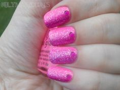Sideways Pink and Purple Glitter Gradient Mani