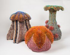 Jennifer Maestre constructs unwieldy organic forms using pencils and pencil shavings that bloom like unworldly flowers.