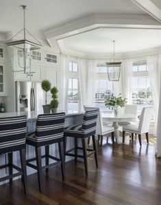 navy + white striped stools and that view!