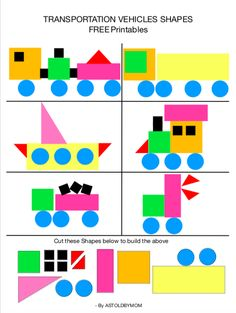 Cut and Paste Shapes- Vehicles Puzzles - Preschool Learning Activities, Preschool Worksheets, Toddler Activities, Preschool Activities, Teaching Kids, Shape Activities, Transportation Crafts, Shapes For Kids, Basic Shapes