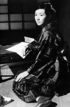 "Japanese actress Takamine Hideko in a still from the movie ""A Wanderer's Notebook"", directed by Naruse.  1962, Japan  Takamine Hideko 高峰秀子 (1924-2010) in Hourouki 放浪記 (A wanderer's notebook) - Directed by Naruse Mikio 成瀬 巳喜男 (1905-1949) - 1962"