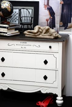 I never thought about stenciling my dresser.  Someone will need to hold me back from stenciling every surface of my house!