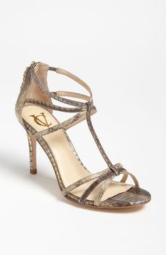 I'd wear this any day.   - VC Signature 'Niles' Sandal  Approx. heel height: 3 3/4   http://www.weddingfashioning.com/wedding-shoes/bridal-shoes-vc-signature-niles-sandal-2.html