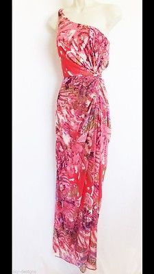 Wedding guest dress.   New Pink Printed Adrianna Papell One Shoulder Draped Chiffon Evening Gown Size 6 | eBay