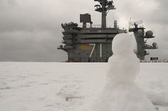 A view you won't see too often... a snowman at sea!