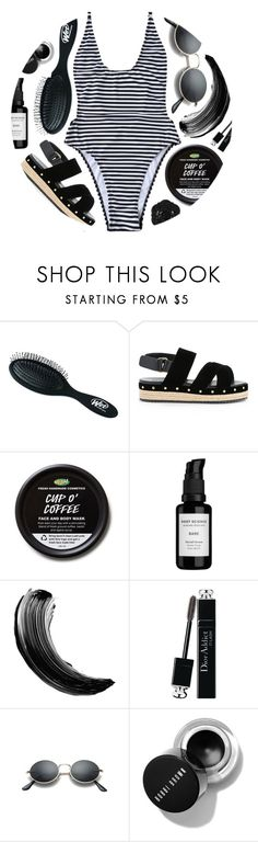 """""""Bikini Stripes"""" by monmondefou ❤ liked on Polyvore featuring The Wet Brush, Muveil, Root Science, Swissco, Maybelline, Christian Dior and black"""