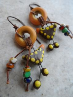Bird Whimsy ... Ceramic Lampwork and Copper by juliethelen on Etsy