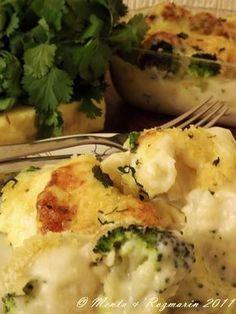 Conopida si broccoli la cuptor cu sos Bechamel si crusta crocanta de pesmet si branza Cheddar [*lacto-vegetarian]