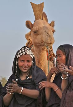 Africa | Tuareg women. Sahara Desert, outside Timbuktu, Mali ...I actually saw a wedding procession outside of Timbucktu where the bride was taken away on a camel and her dowry of gold and camels followed behind
