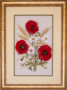 Ribbon Embroidery of red poppies with white daisies and wheat - Gallery.ru / Фото #18 - Моя вышивка лентами - midnight-rose