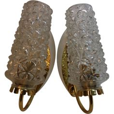 Pair Mid Century 60´s Glass & Brass Wall Lamp Sconces