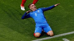 Antoine Griezmann celebrating his second goal in the semi-final against Germany.
