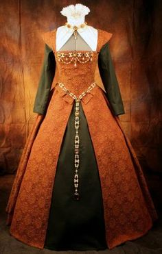 burnt orange and olive green renaissance gown