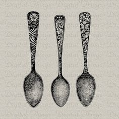 beautiful spoons black and white drawing style with detail