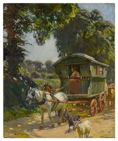Gypsy Caravan, Gypsy Wagon, Alfred Munnings, Gypsy People, Horse Posters, Animals Images, Horse Art, Magazine Art, Art Market