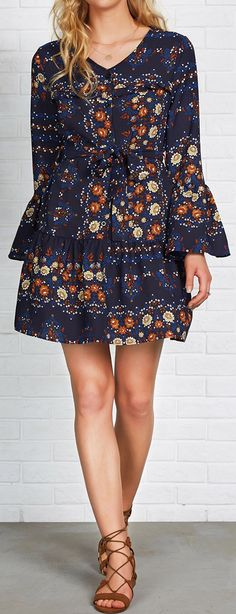$23.99 Only with free shipping&easy return! This dot&floral printing dress is detailed with sash, button up&ruffle hem! Flowers flash out against the night sky. See its complete look at Cupshe.com