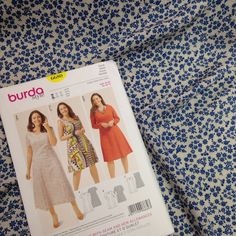 A beautiful new dress pattern which would look gorgeous made in our pretty blue floral viscose fabric.