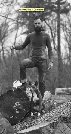 just a man, his dog, his BEARD and an axe