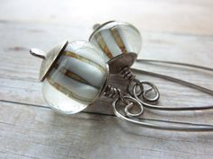 Sterling Silver Drop Earrings Lampwork Beads by ATwistOfWhimsy,