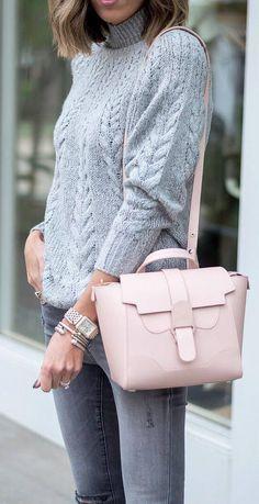 ootd   grey knit sweater   skinny jeans   blush bag