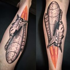 Dotwork space shuttle piece by Brie Rawlings @ Soular Tattoo
