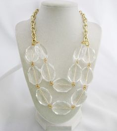 Large Crystal Statement Necklace - Crystal Acrylic Bead Bib Necklace - Clear Bead Necklace - Clear Lucite Necklace - Double Strand Necklace on Etsy, $34.00