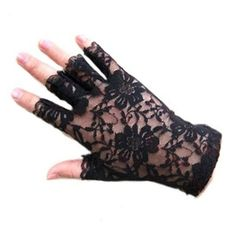 Polytree Women's Lace Fingerless Gloves (Black) at Amazon Women's Clot ❤ liked on Polyvore featuring accessories, gloves, lace gloves, fingerless gloves and lace fingerless gloves