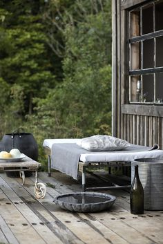 weathered wood deck