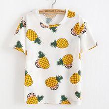 2016 verão mulheres coreano camisa abacaxi t-shirt O pescoço Casual Tops de manga curta t-shirt roupas(China (Mainland))