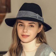 b49e7212a35 Bow wide brim fedora hat for women fashion winter wool felt hats