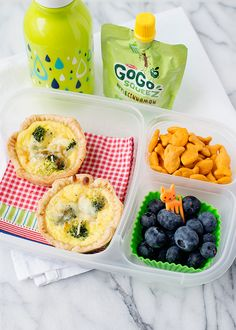 mini broccoli quiche packed for lunch. #recipe in post #EasyLunchboxes
