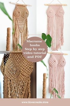 Macrame pattern by IlovecreateStore. Boobs macrame wall hanging, DIY wall hanging, breast macrame PDF pattern, patterns and how to, DIY macrame plant hanger. Macrame boobs wall hanging pattern is not difficult and is detailed in the video. The terms of knots are 1-2 days. The pattern includes a description of the materials needed as well as a video step-by-step on how to complete the project.